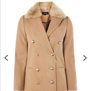 NWT TOPSHOP Nina Coat in Camel